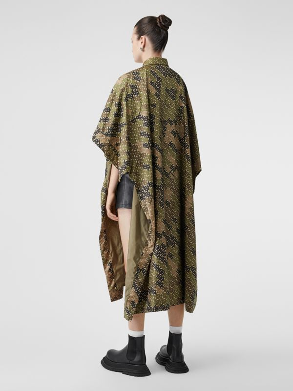 Monogram Print Nylon Twill Poncho in Khaki Green - Women | Burberry - cell image 2