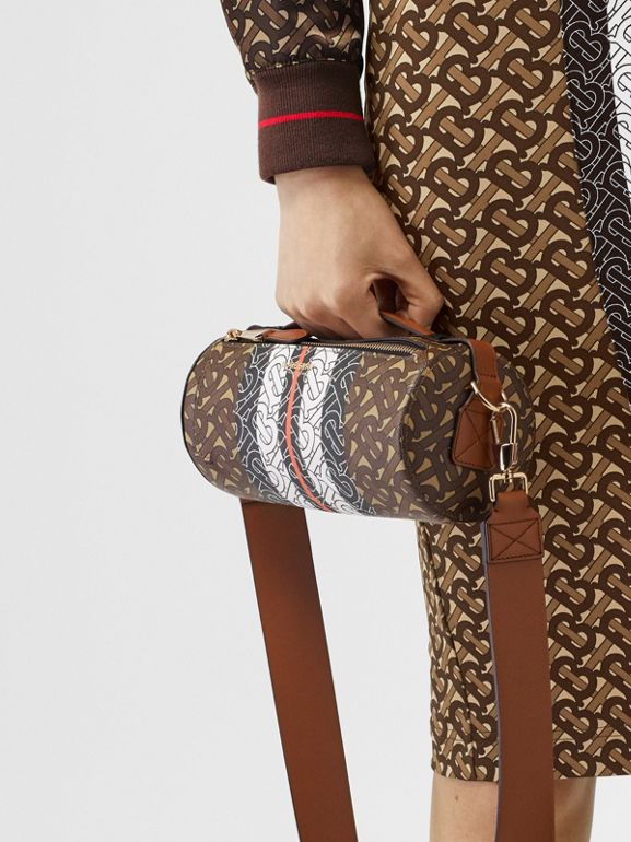 Sac The Barrel en toile écologique rayé Monogram (Brun Bride) | Burberry - cell image 1
