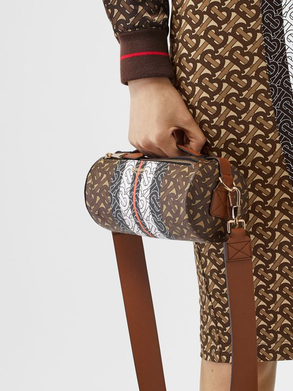 The Monogram Stripe E-canvas Barrel Bag in Bridle Brown | Burberry Australia - cell image 2