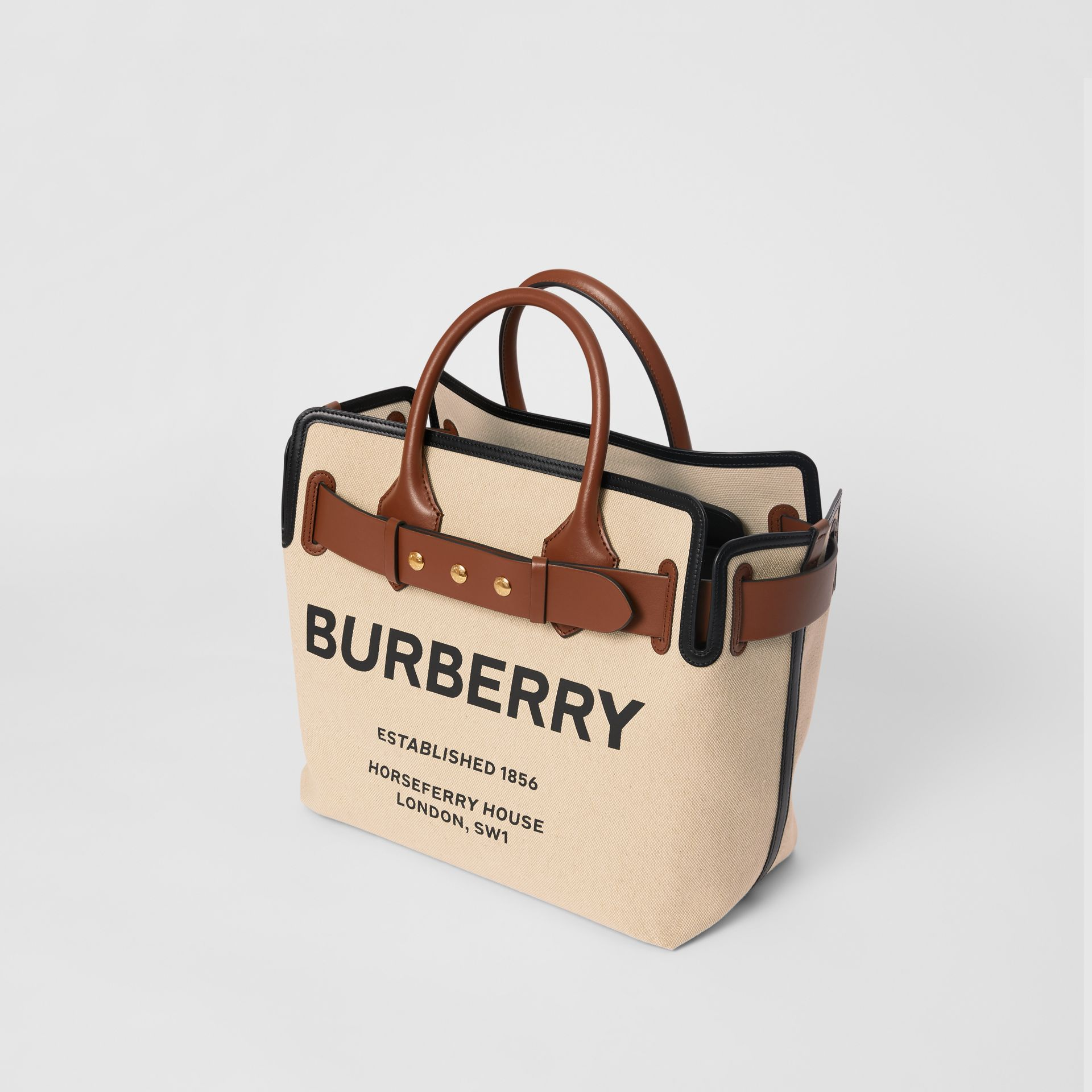 The Medium Cotton Canvas Triple Stud Belt Bag in Malt Brown/black - Women | Burberry Australia - gallery image 3
