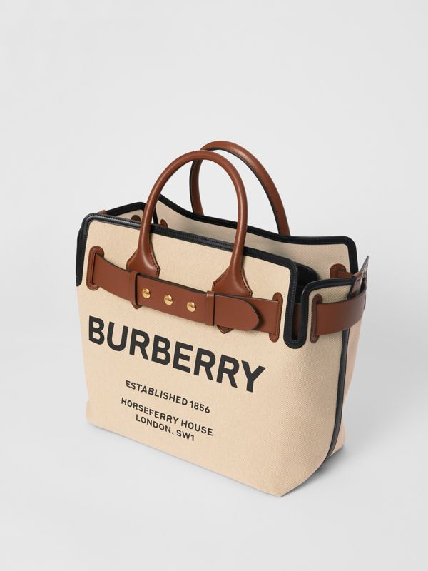 The Medium Cotton Canvas Triple Stud Belt Bag in Malt Brown/black - Women | Burberry Australia - cell image 3