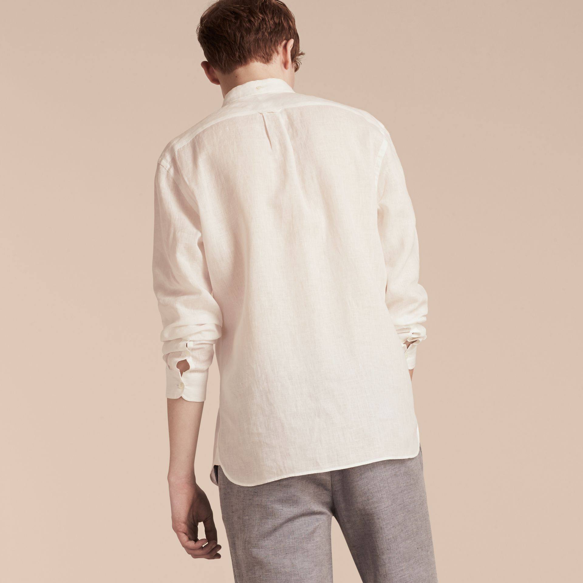 White Button-down Collar Linen Shirt White - gallery image 3