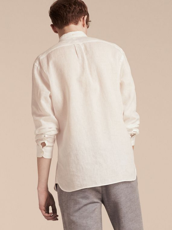 White Button-down Collar Linen Shirt White - cell image 2