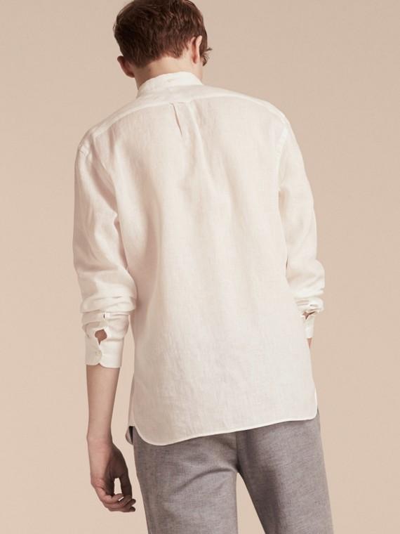 Blanco Camisa en lino con cuello abotonado Blanco - cell image 2