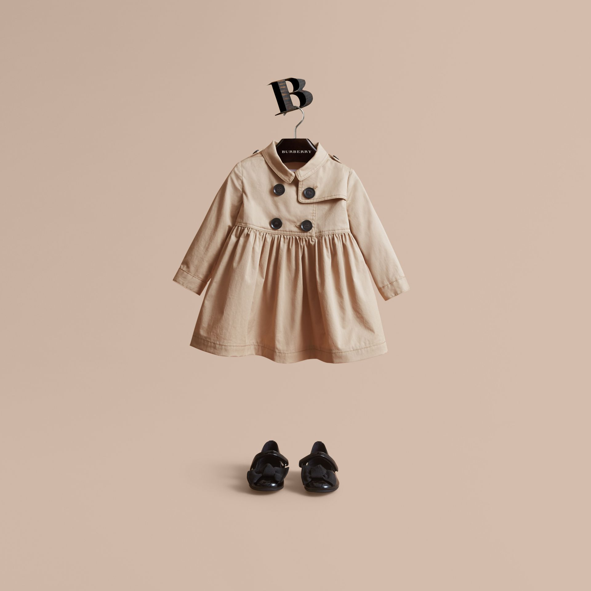 Stretch Cotton Trench Dress in Honey - Children | Burberry - gallery image 1