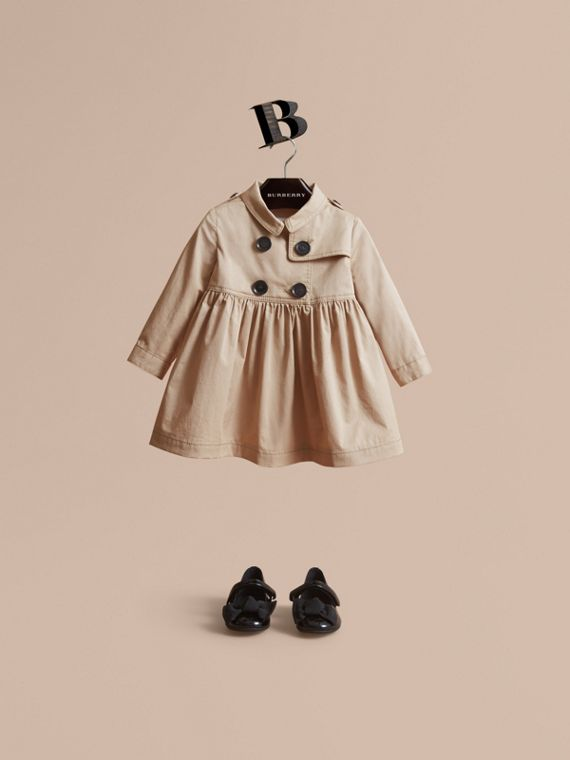 Stretch Cotton Trench Dress in Honey - Children | Burberry