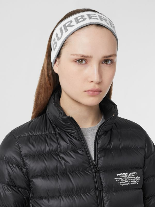 Logo Intarsia Wool Blend Headband in White/mid Grey | Burberry United States - cell image 2