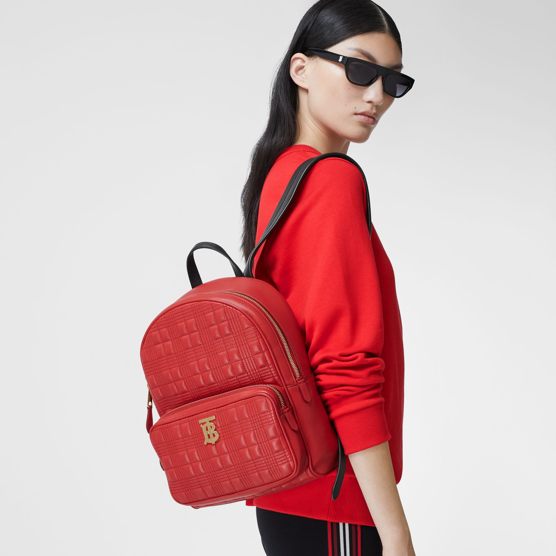 Quilted Lambskin Backpack in Bright Red | Burberry - gallery image 2