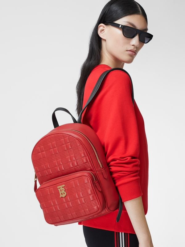 Quilted Lambskin Backpack in Bright Red | Burberry - cell image 2