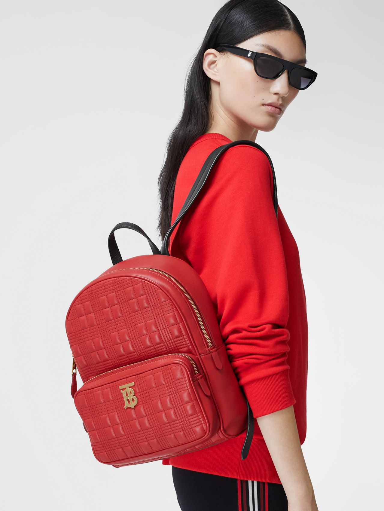 Quilted Lambskin Backpack in Bright Red