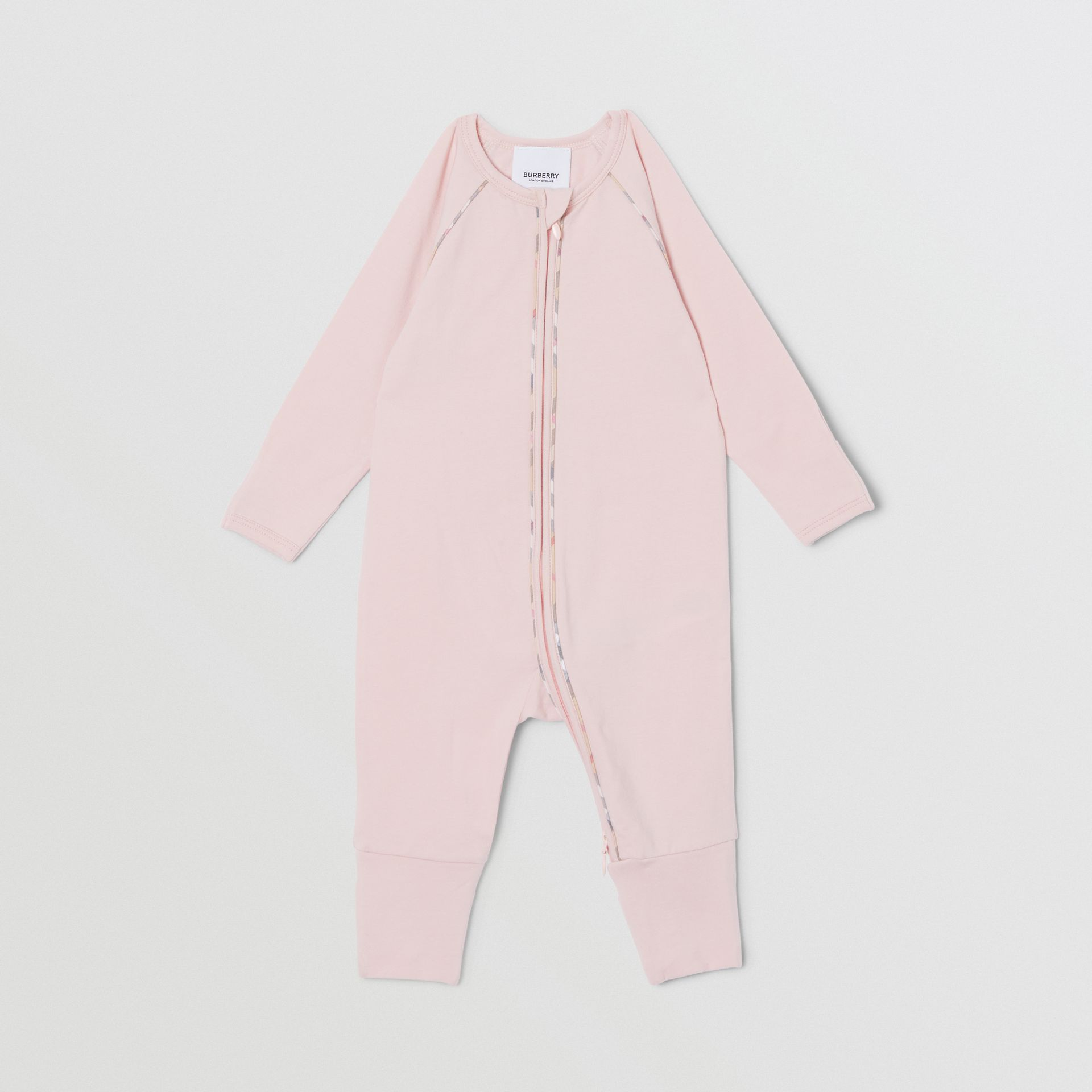 Check Trim Stretch Cotton Three-piece Baby Gift Set in Lavender Pink - Children | Burberry - gallery image 3