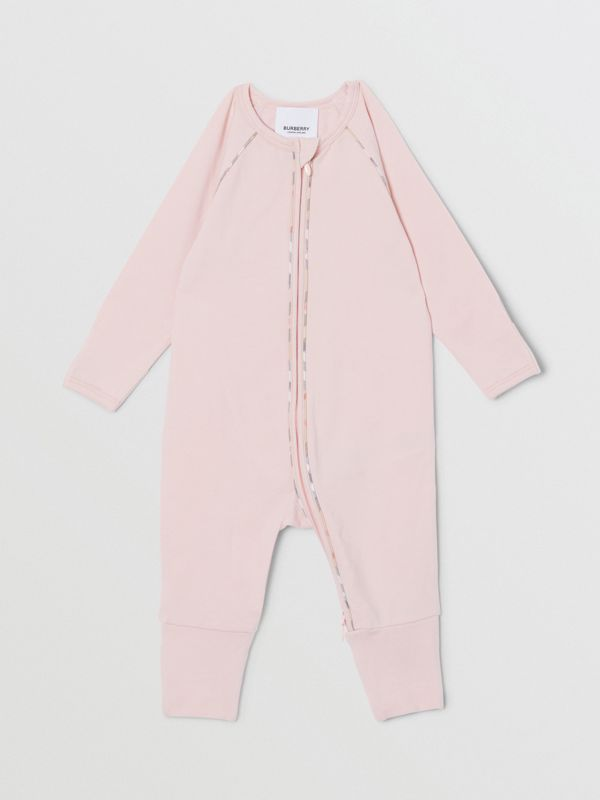 Check Trim Stretch Cotton Three-piece Baby Gift Set in Lavender Pink - Children | Burberry - cell image 3