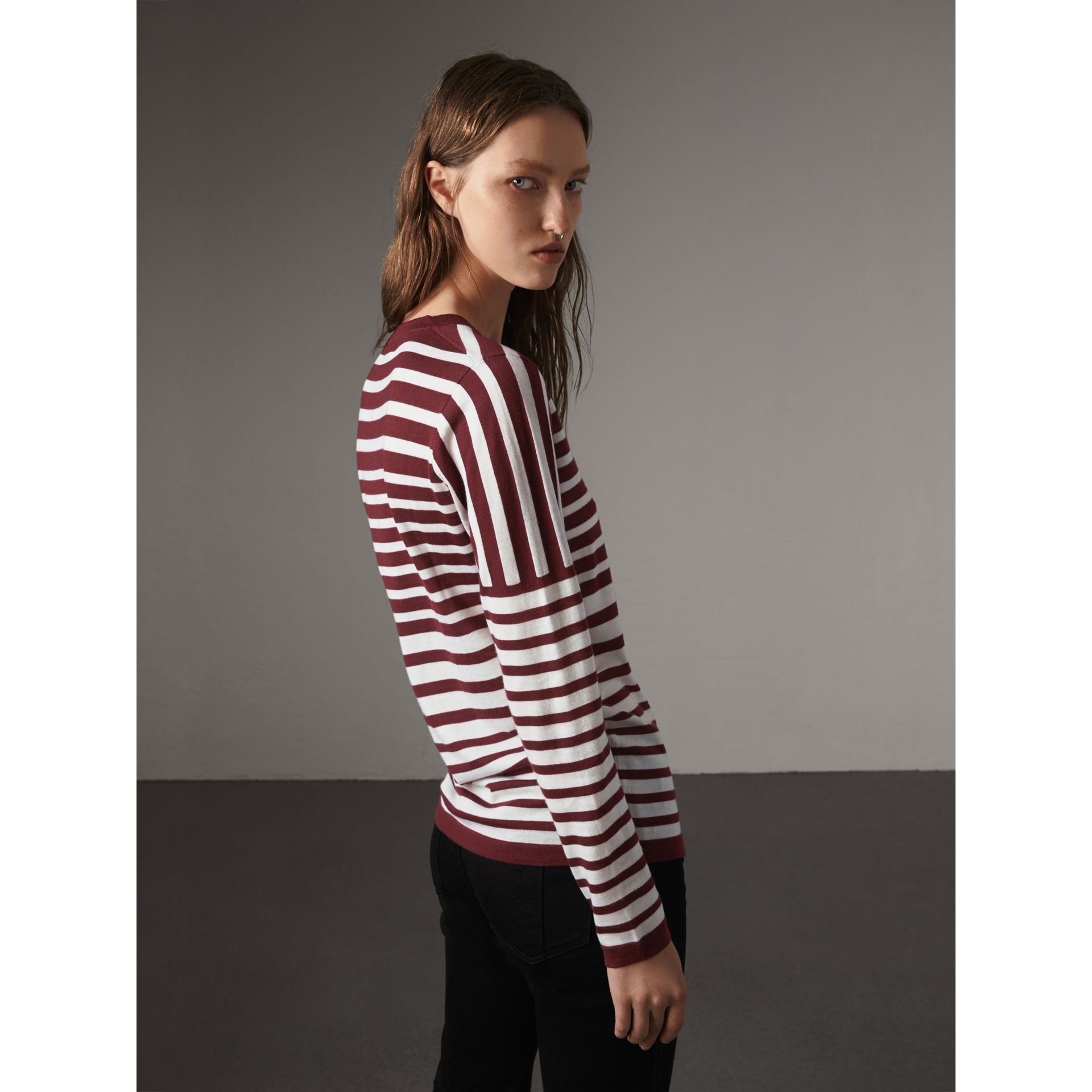 Graduated Stripe Merino Wool Sweater in Russet/natural White - Women | Burberry Hong Kong - gallery image 3