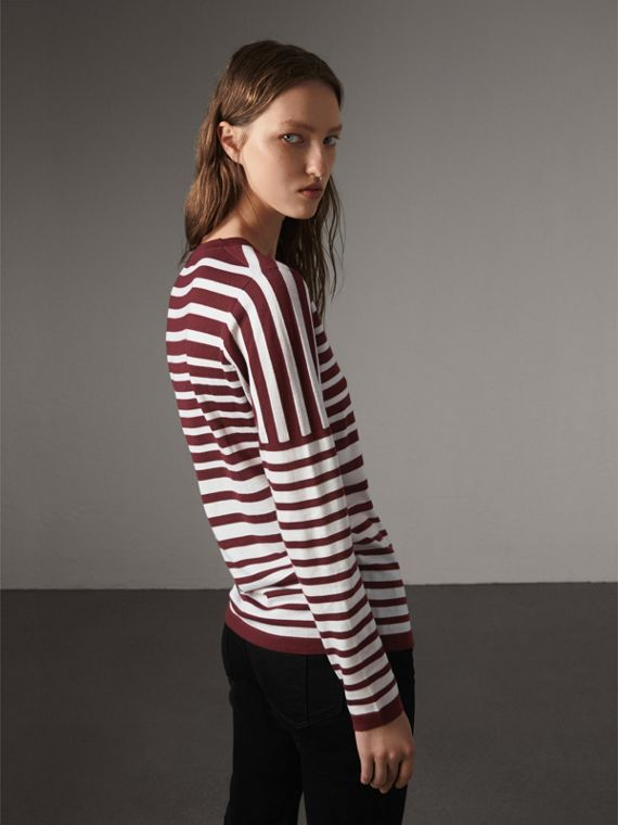 Graduated Stripe Merino Wool Sweater in Russet/natural White - Women | Burberry - cell image 2