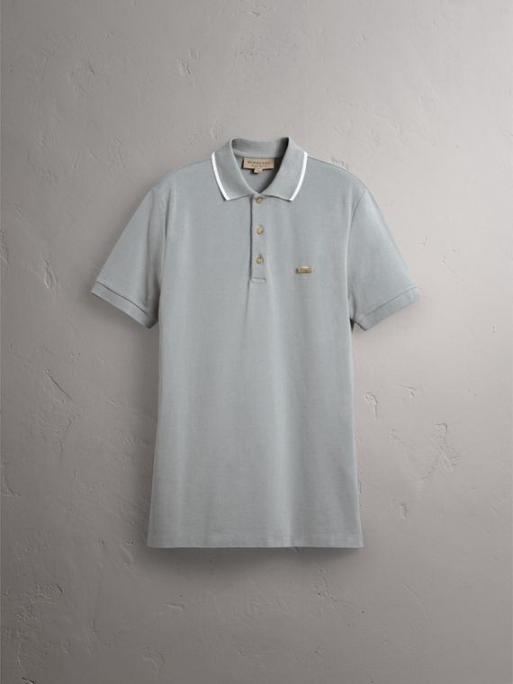 Tipped Collar Cotton Piqué Polo Shirt in Mist Grey - Men | Burberry - cell image 3