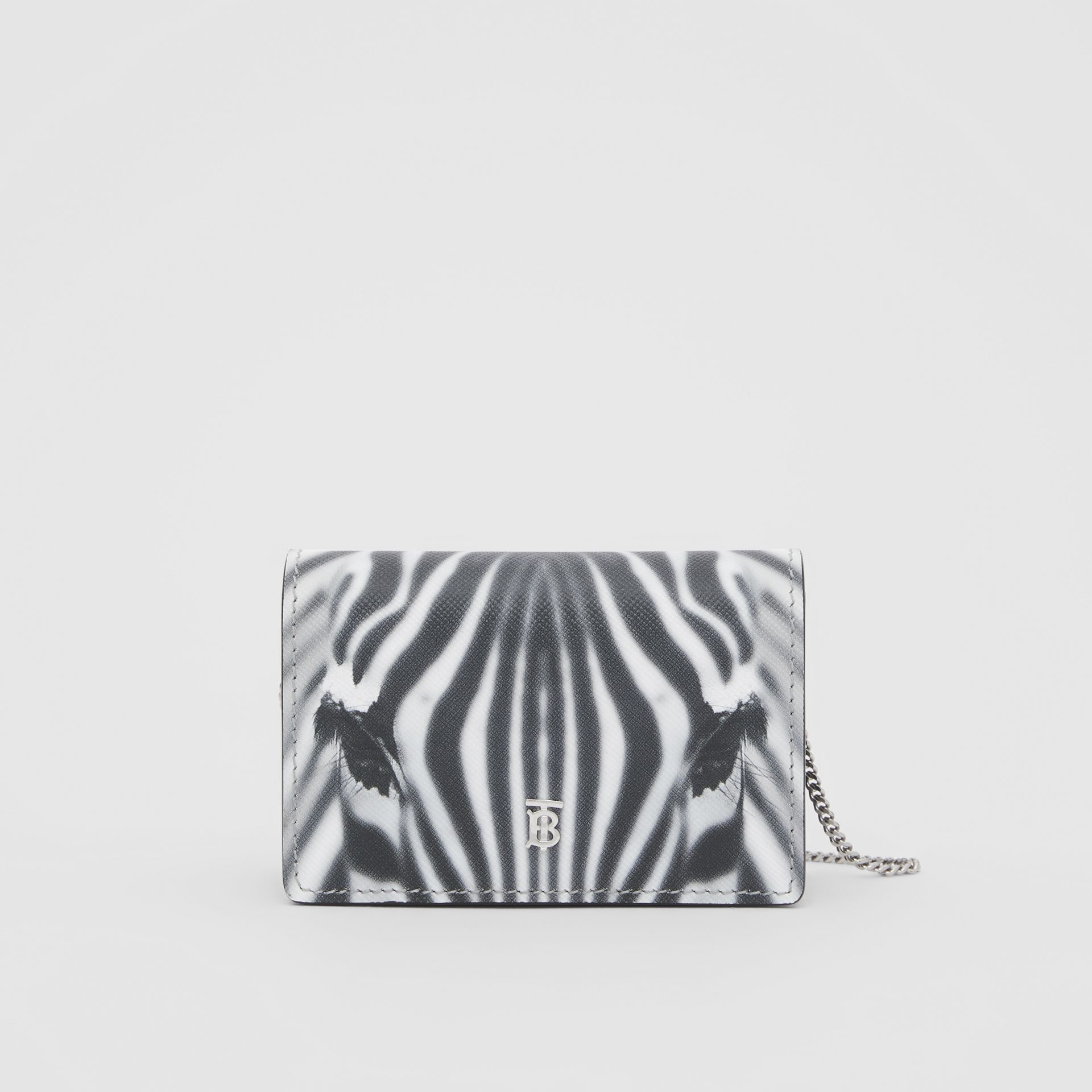 Zebra Print Leather Card Case with Detachable Strap in Black | Burberry - gallery image 0
