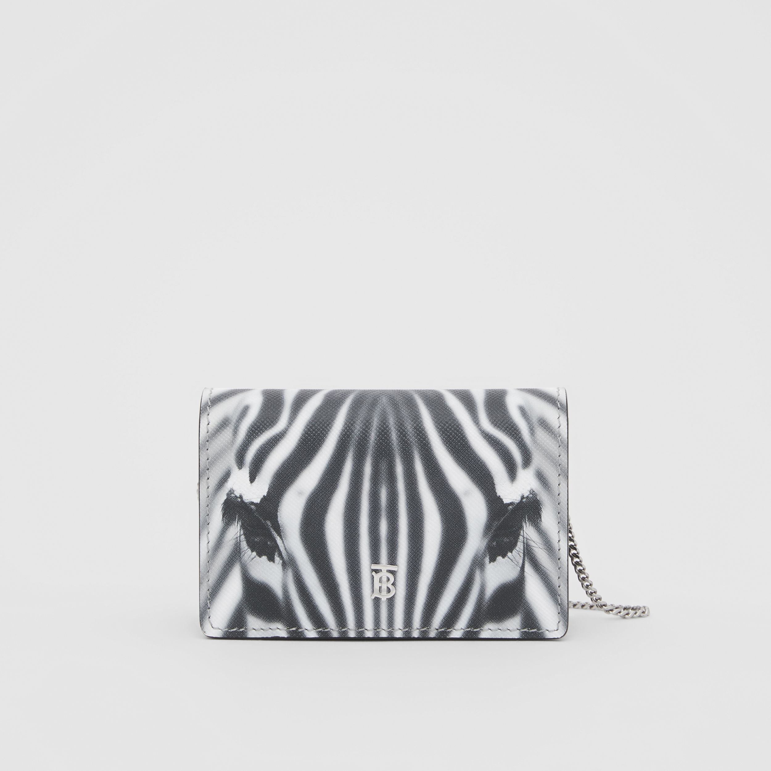 Zebra Print Leather Card Case with Detachable Strap in Black | Burberry - 1