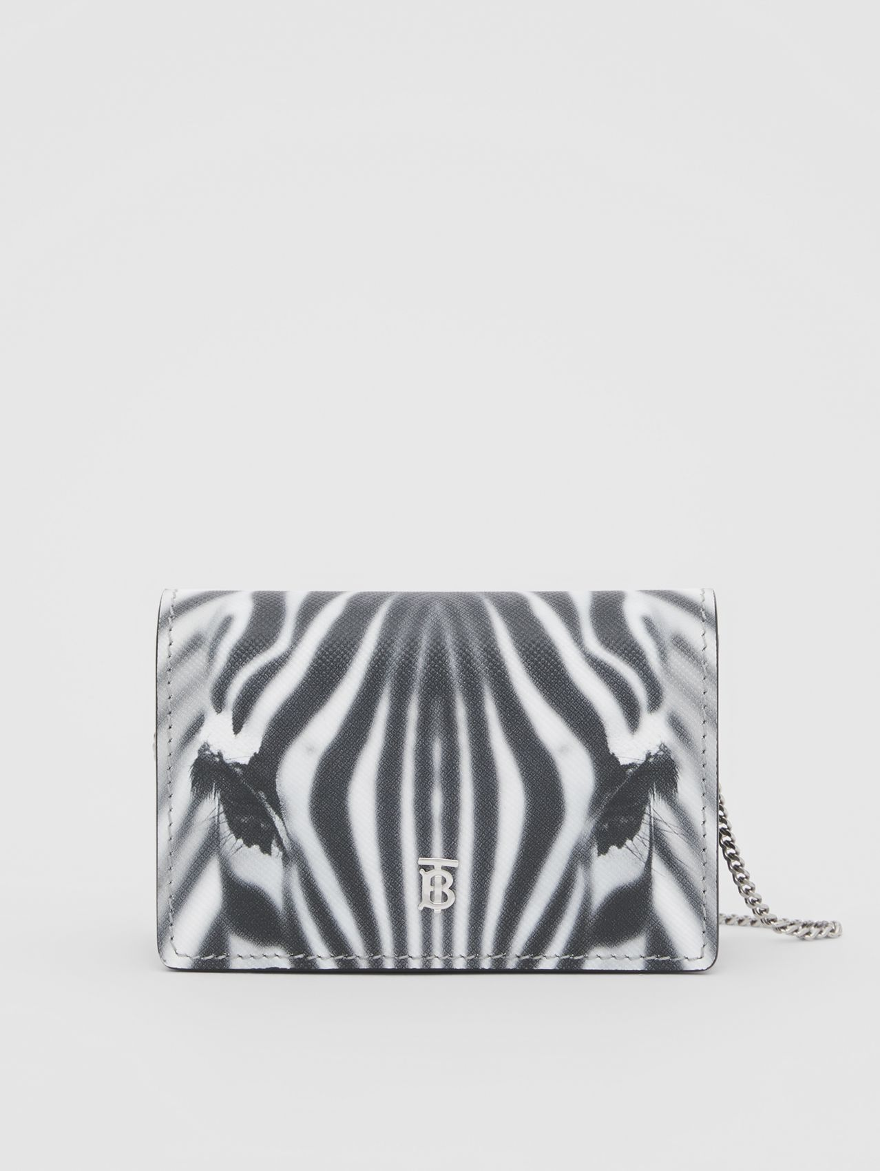 Zebra Print Leather Card Case with Detachable Strap in Black
