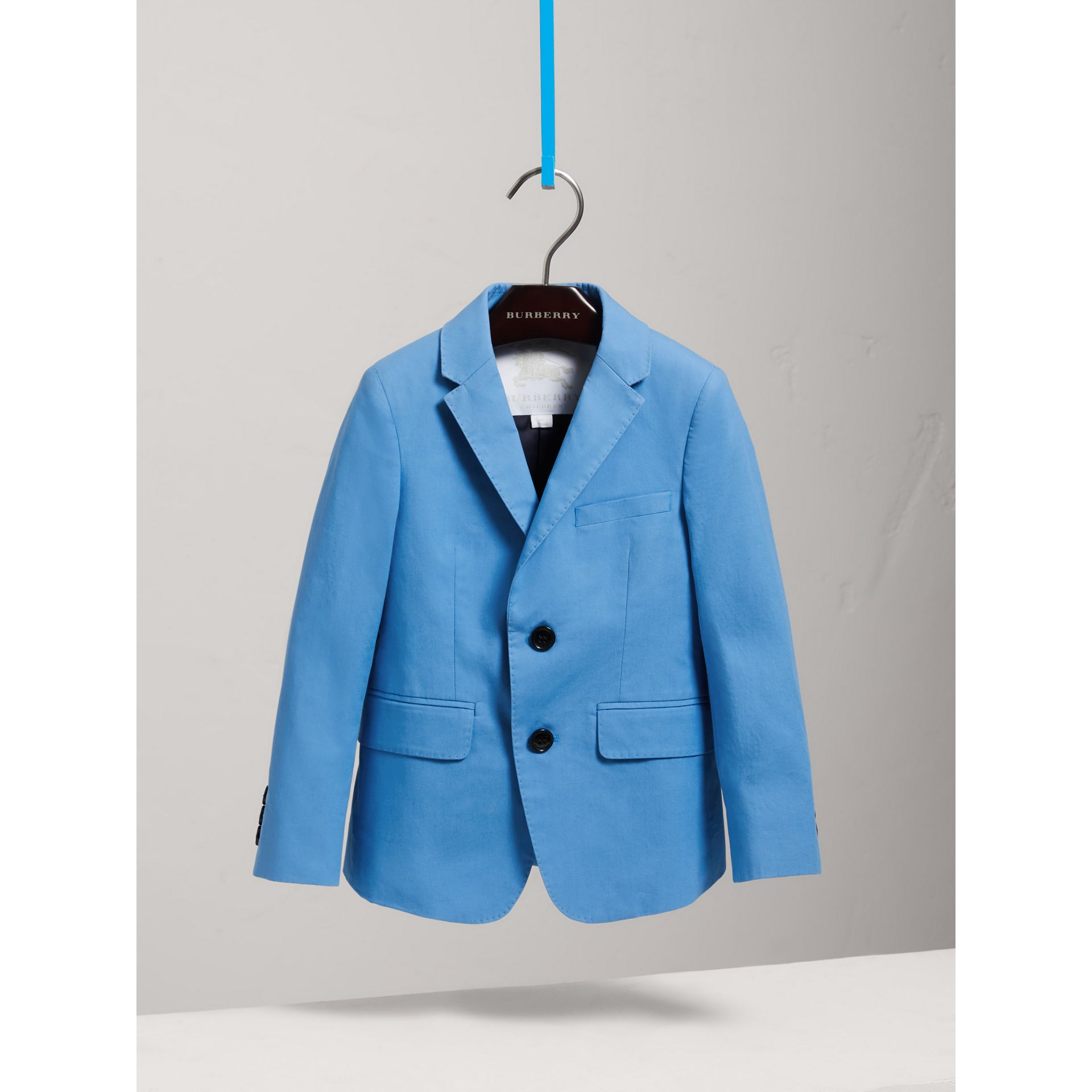 Cotton Poplin Blazer in Azure Blue | Burberry - gallery image 0