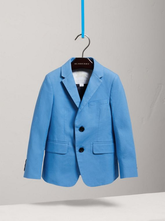 Cotton Poplin Blazer in Azure Blue