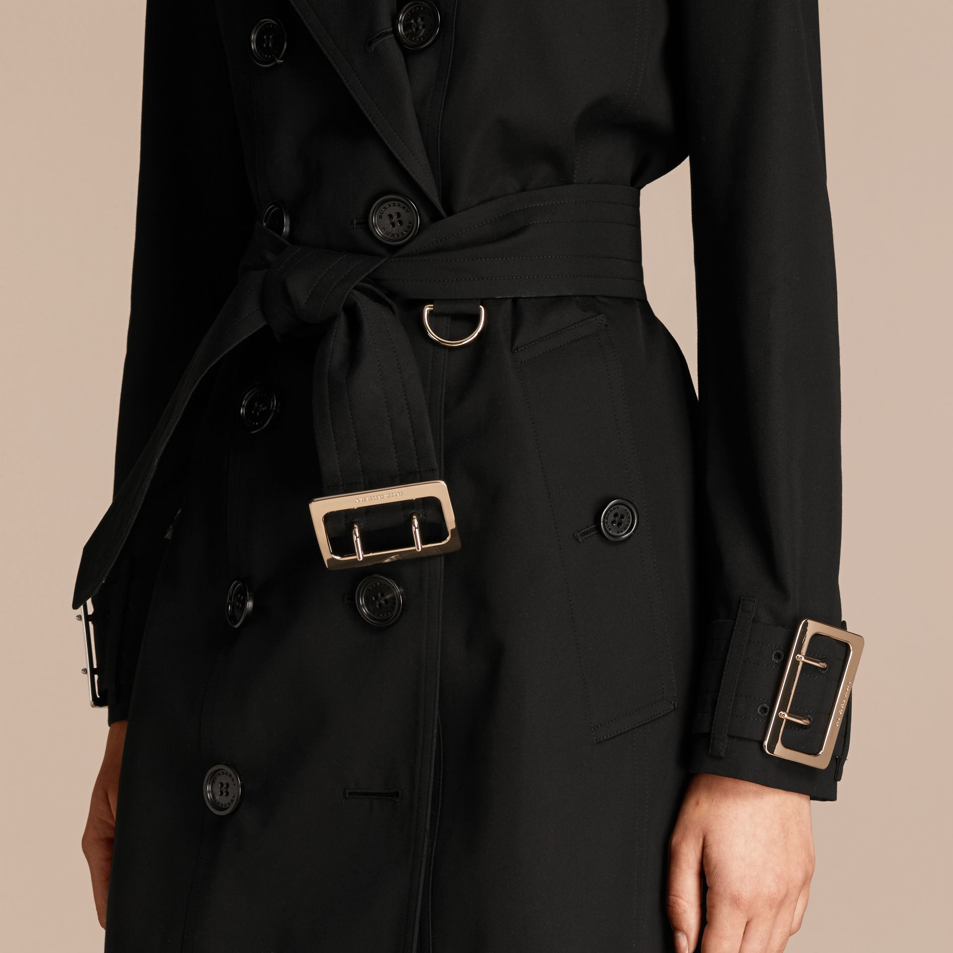 Black Cotton Gabardine Trench Coat with Oversize Buckle Detail Black - gallery image 5