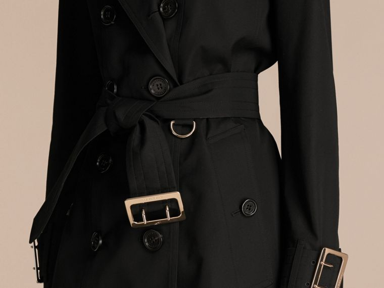 Black Cotton Gabardine Trench Coat with Oversize Buckle Detail Black - cell image 4