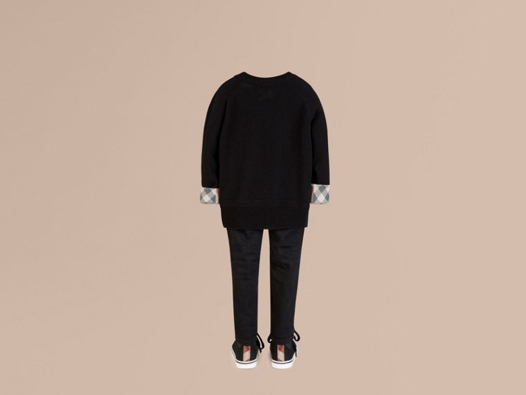 Check Cuff Cashmere Sweater in Black - cell image 1