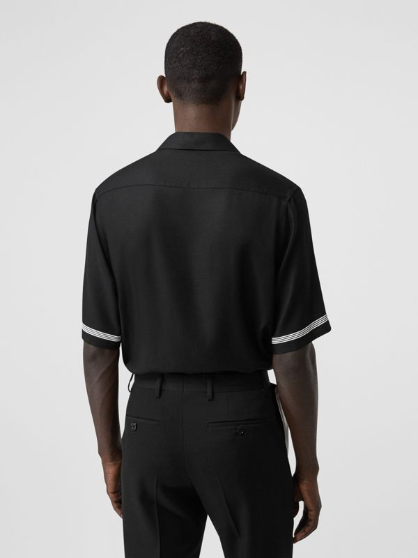 Short-sleeve Logo Print Twill Shirt in Black | Burberry - cell image 2