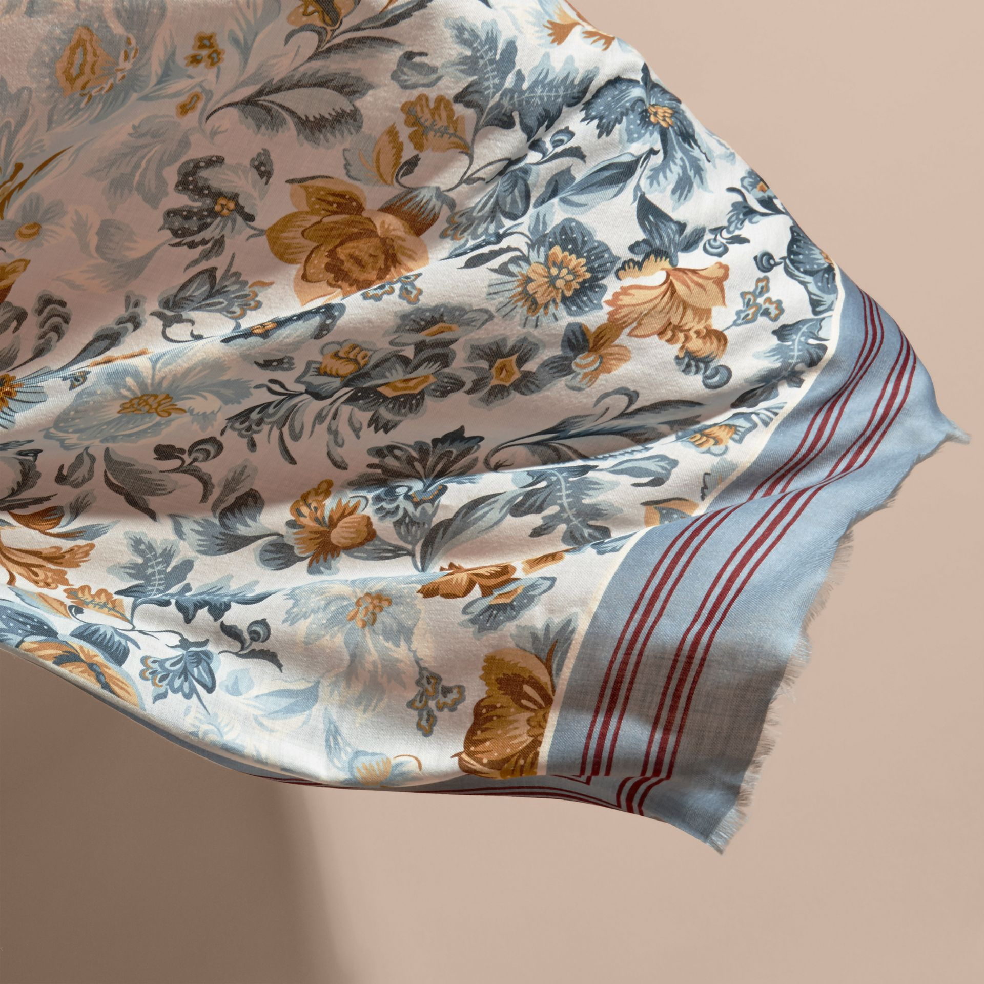 Garden Floral Print Cashmere Scarf Pale Sky Blue - gallery image 4
