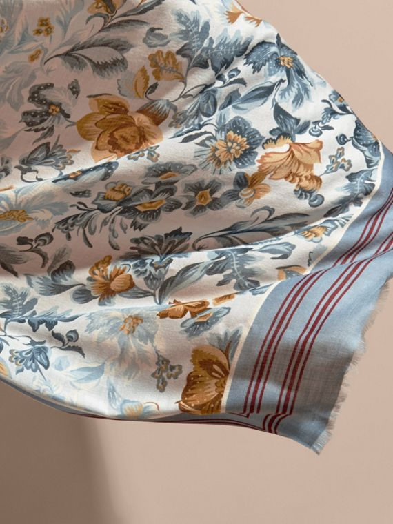 Garden Floral Print Cashmere Scarf Pale Sky Blue - cell image 3