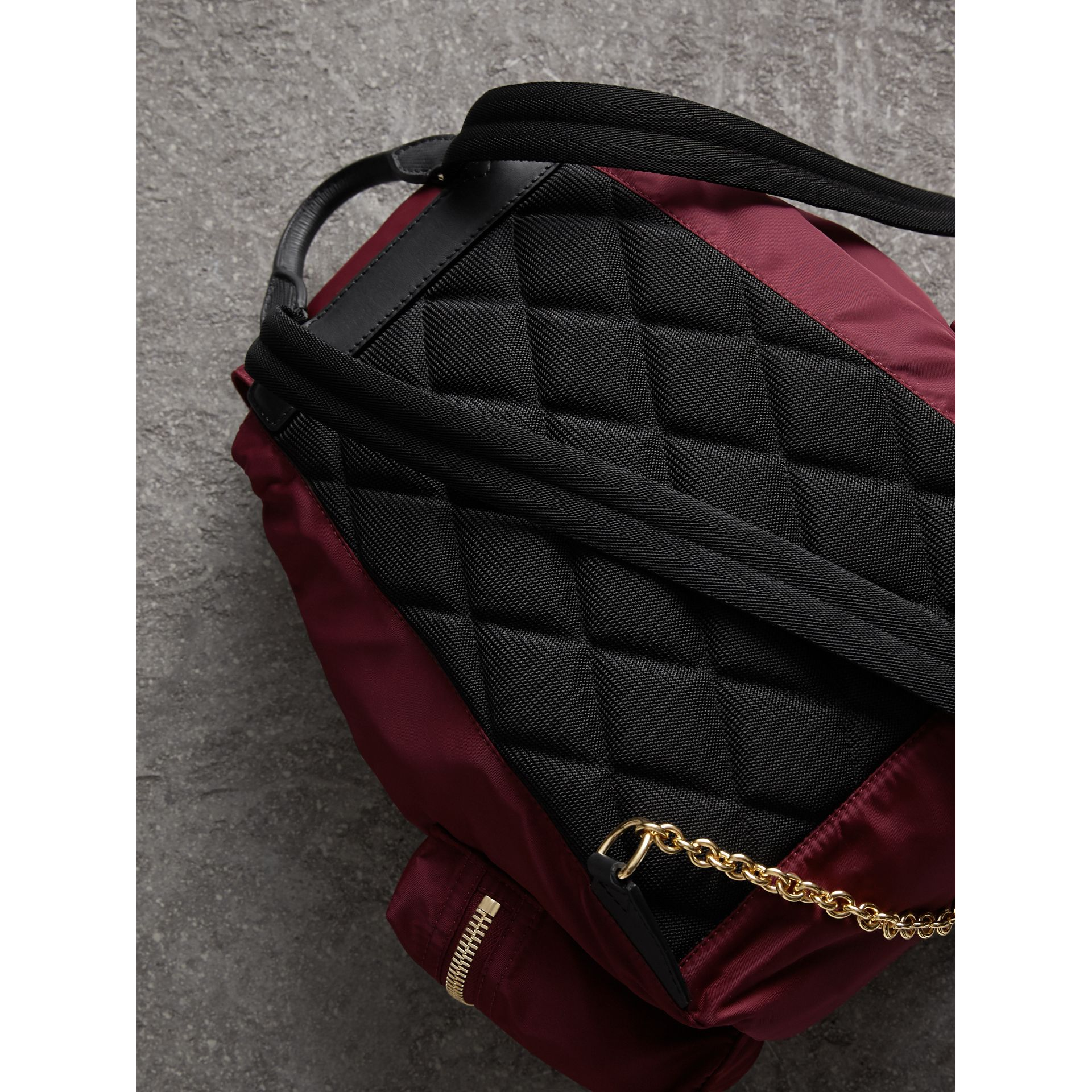 The Medium Rucksack in Technical Nylon and Leather in Burgundy Red - gallery image 5