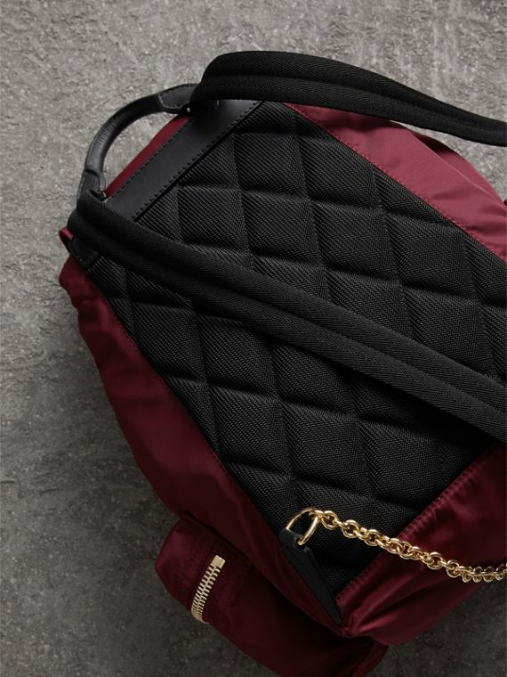 The Medium Rucksack in Technical Nylon and Leather in Burgundy Red - Women | Burberry Singapore - cell image 3