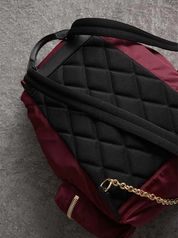 The Medium Rucksack in Technical Nylon and Leather in Burgundy Red - Women | Burberry - cell image 3