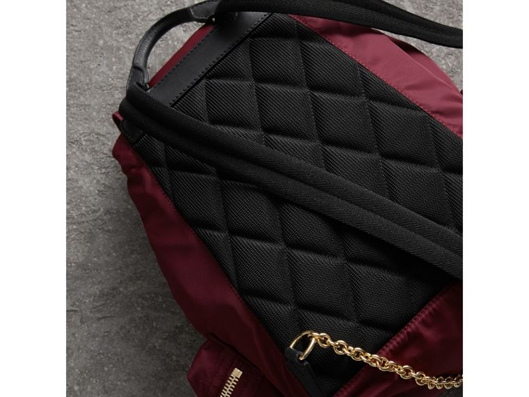 The Medium Rucksack in Technical Nylon and Leather in Burgundy Red - cell image 4