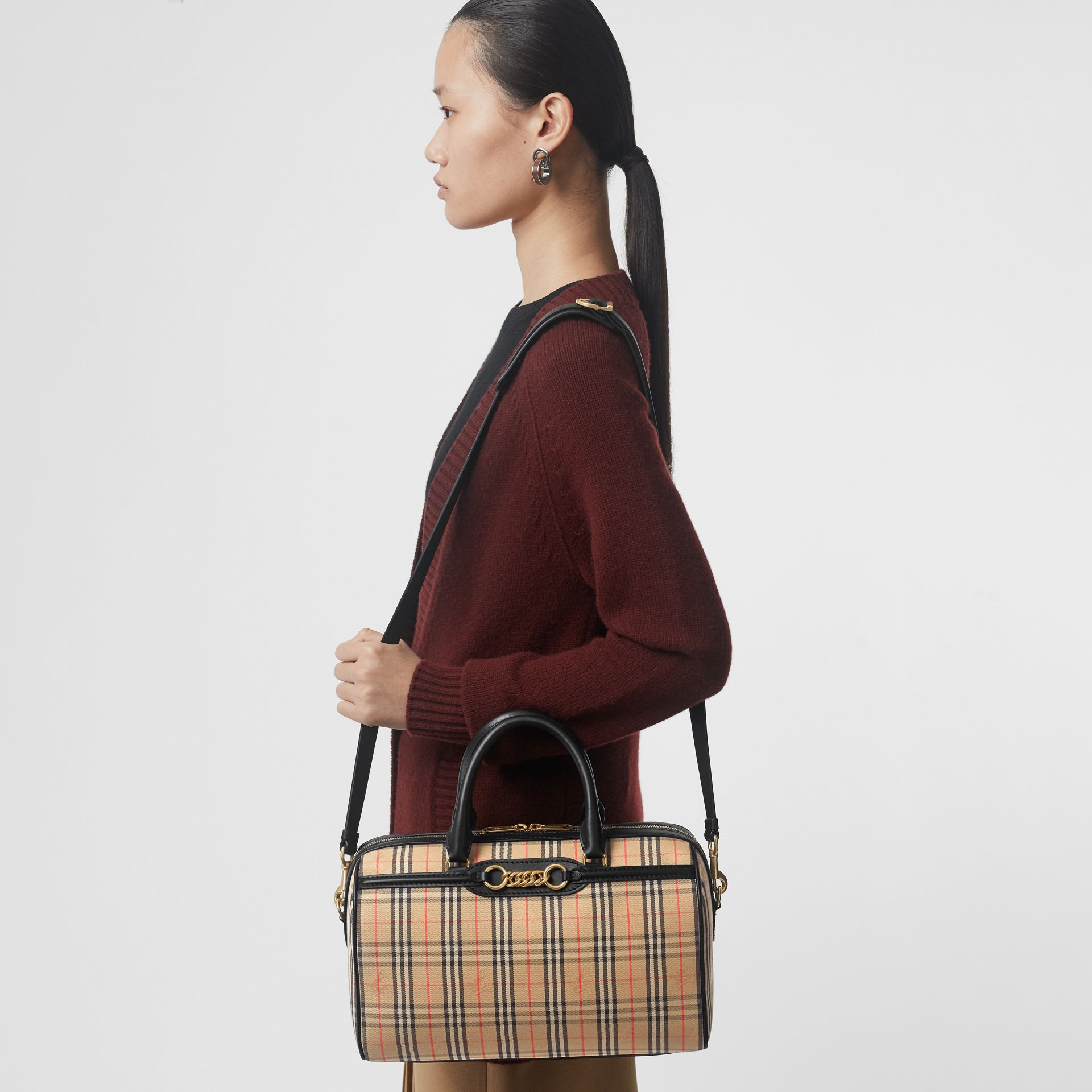The Medium 1983 Check Link Bowling Bag in Black - Women | Burberry United Kingdom - gallery image 3