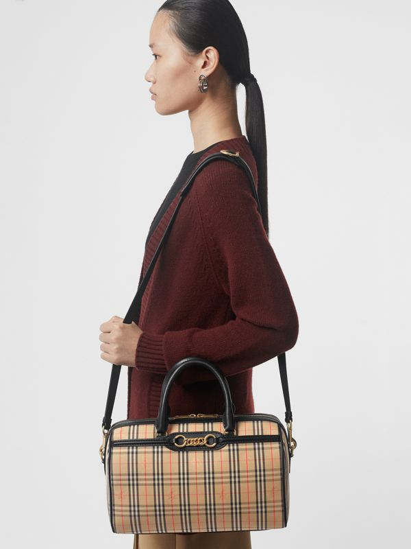 The Medium 1983 Check Link Bowling Bag in Black - Women | Burberry United Kingdom - cell image 3