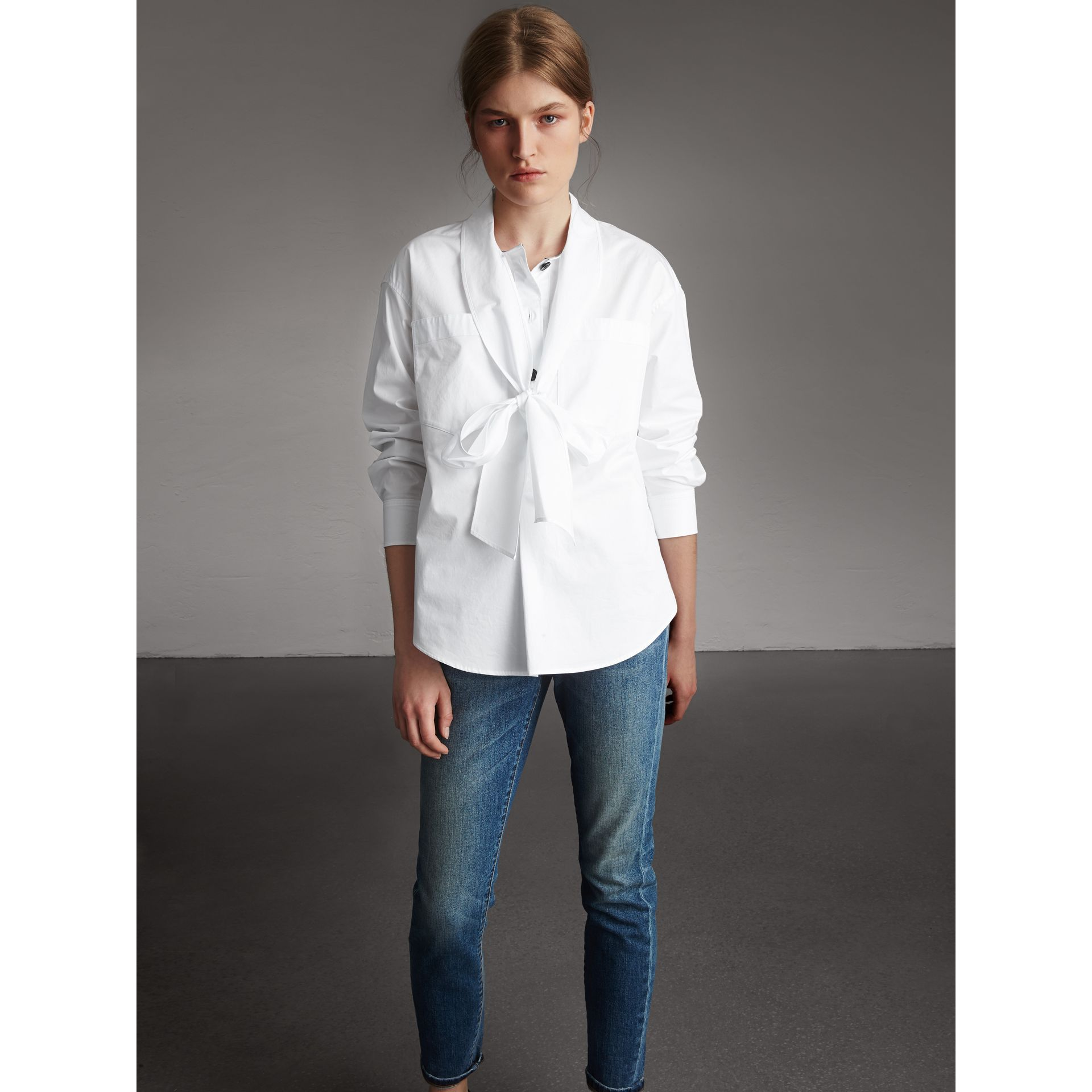 Neck Tie Stretch Cotton Shirt in White - Women | Burberry - gallery image 1