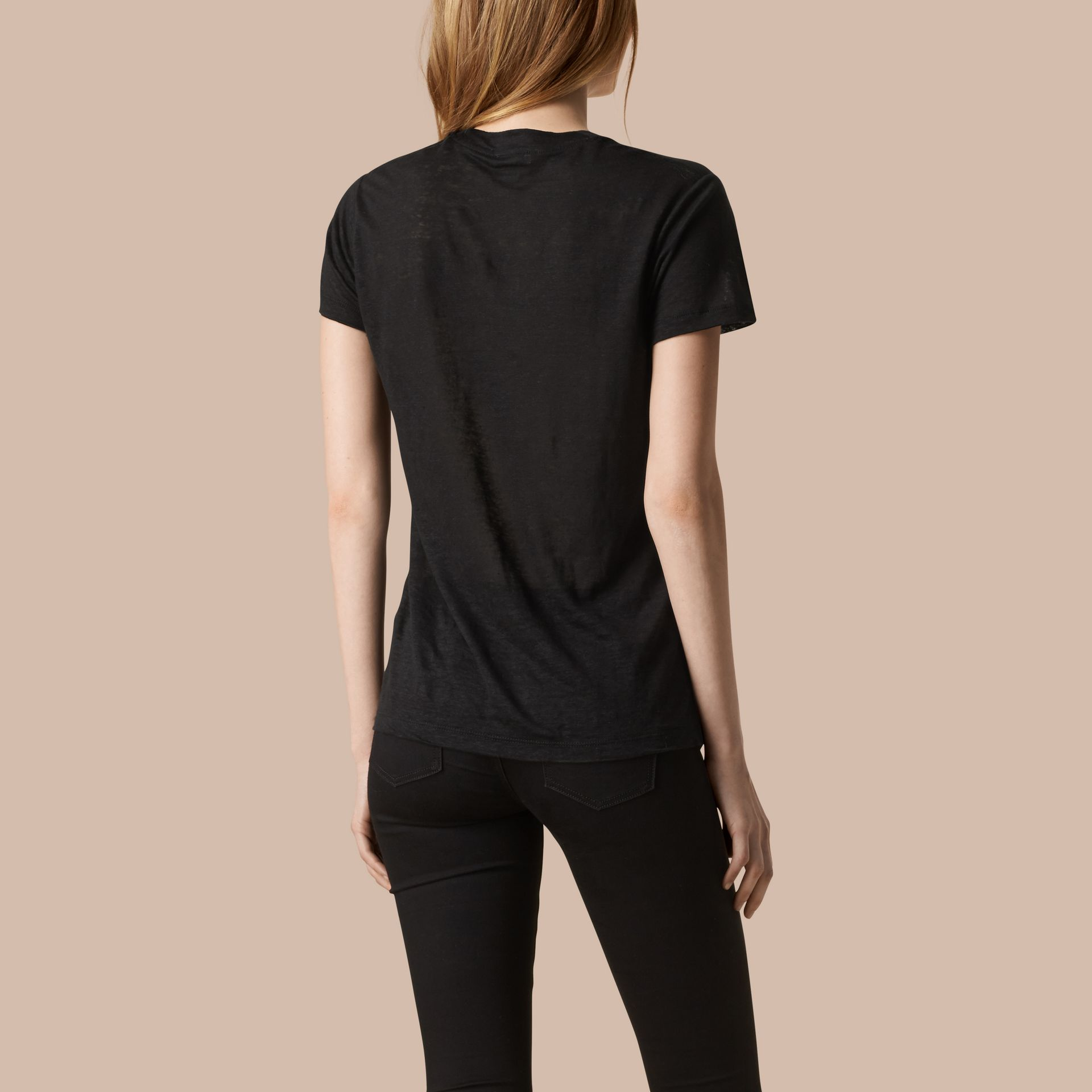 Black V-Neck Open Stitch Detail Linen T-Shirt Black - gallery image 3
