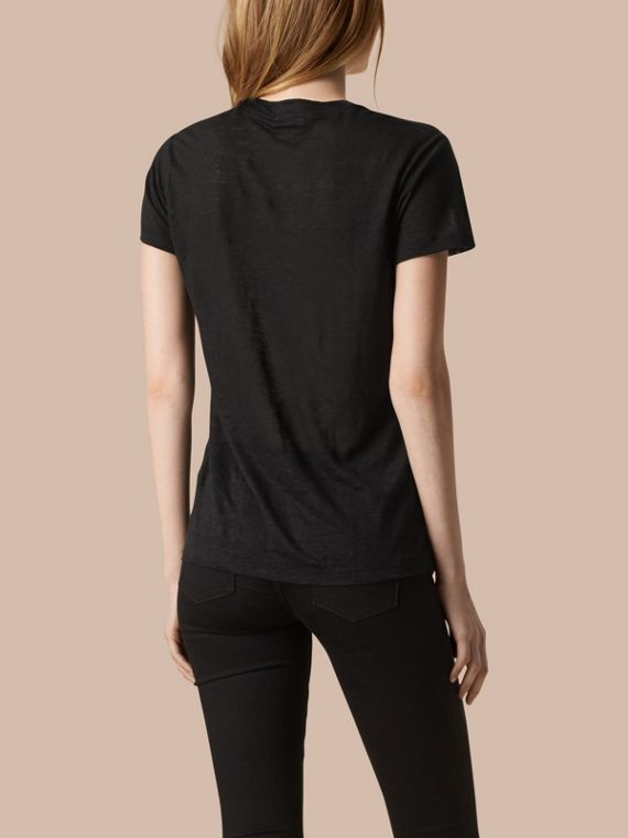 Black V-Neck Open Stitch Detail Linen T-Shirt Black - cell image 2