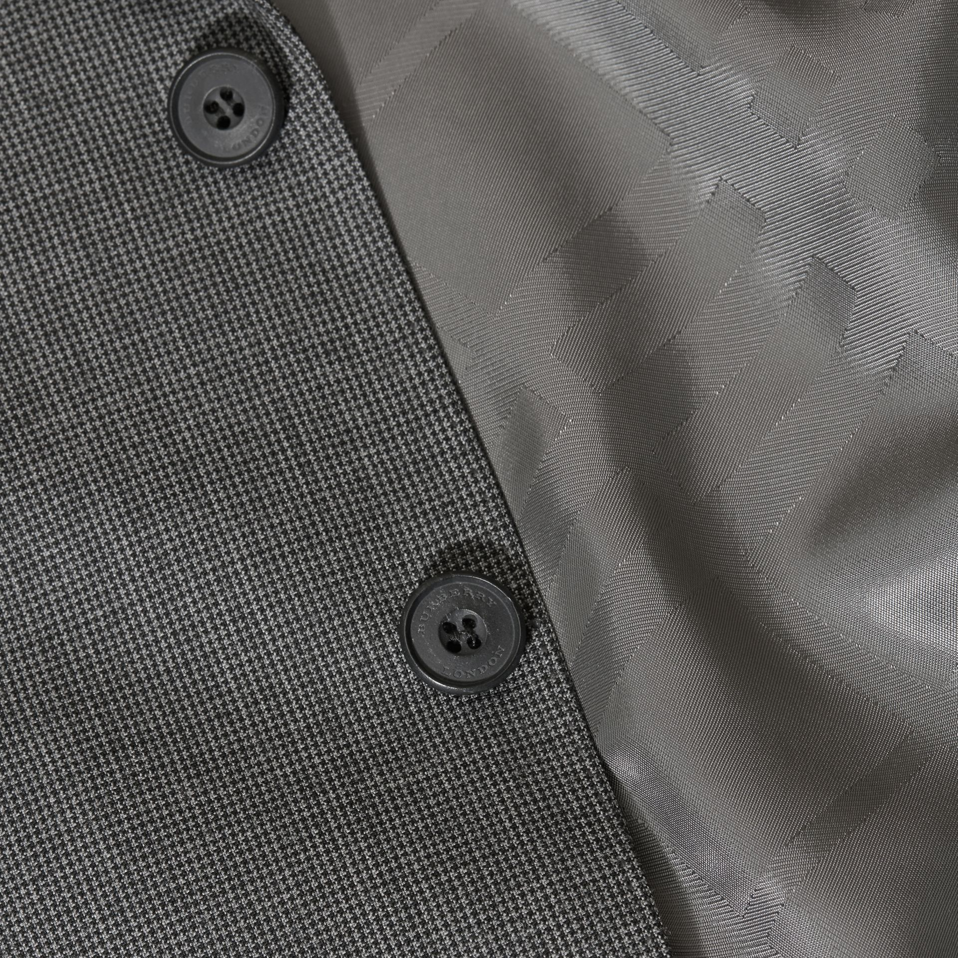 Mid grey melange Modern Fit Wool Cashmere Microcheck Part-canvas Suit - gallery image 2