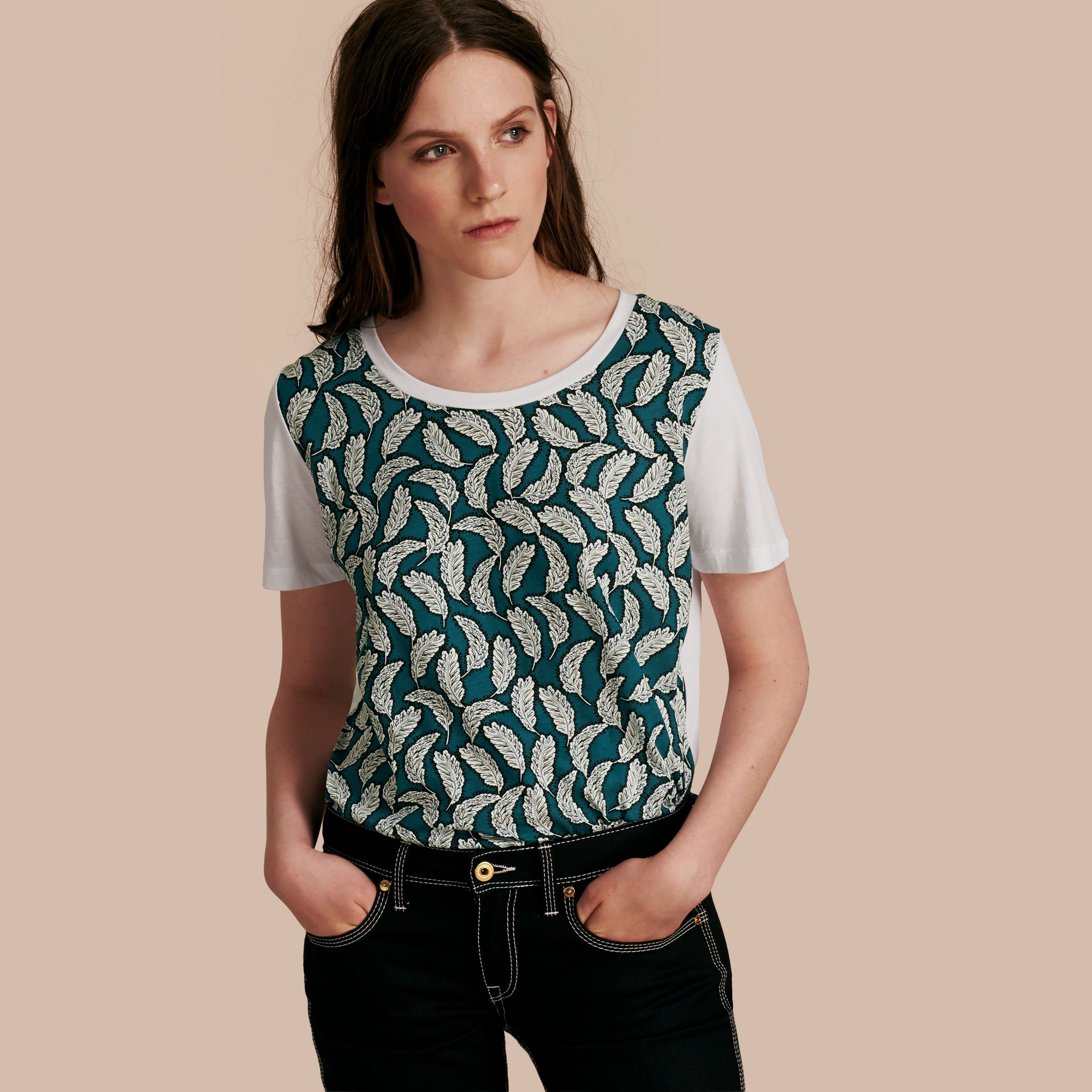 Teal blue Leaf Print Cotton T-shirt Teal Blue - gallery image 1