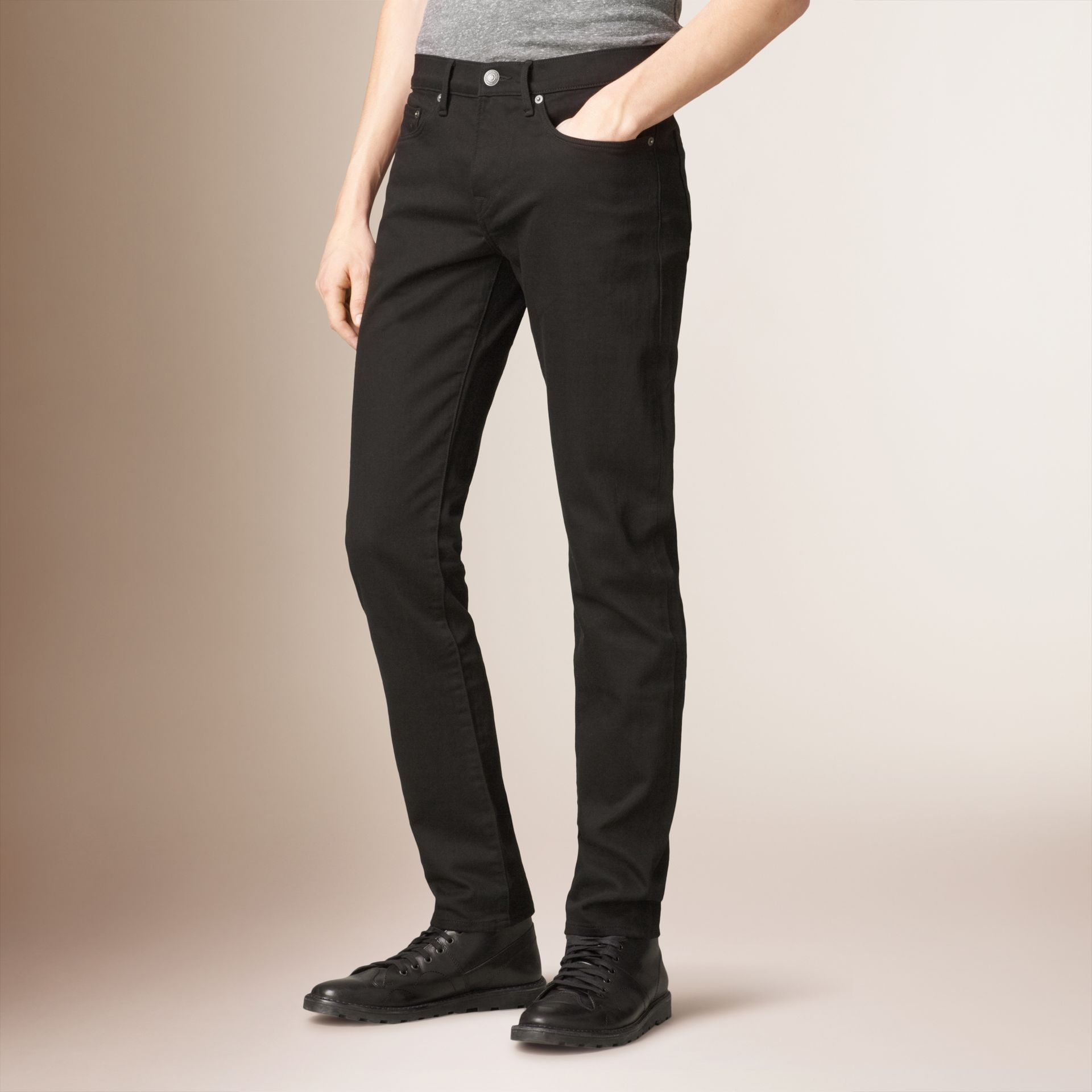 Slim Fit Deep Black Jeans - Men | Burberry - gallery image 0
