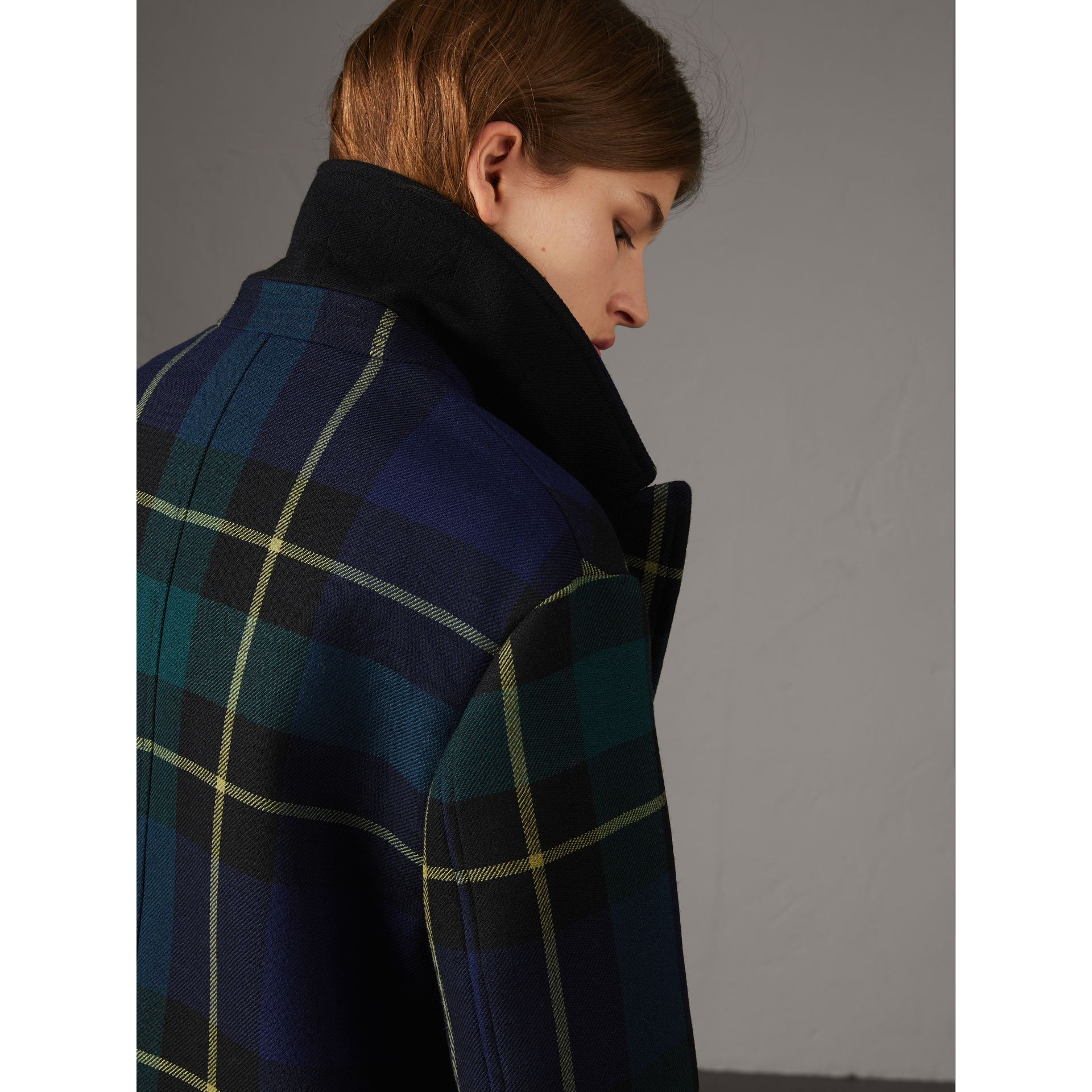 Lightweight Tartan Wool Tailored Coat in Pine Green - Women | Burberry - gallery image 1