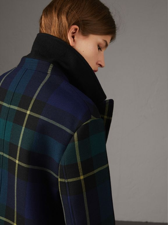 Lightweight Tartan Wool Tailored Coat in Pine Green | Burberry - cell image 1