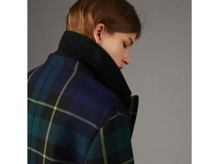 Lightweight Tartan Wool Tailored Coat in Pine Green - Women | Burberry - cell image 1