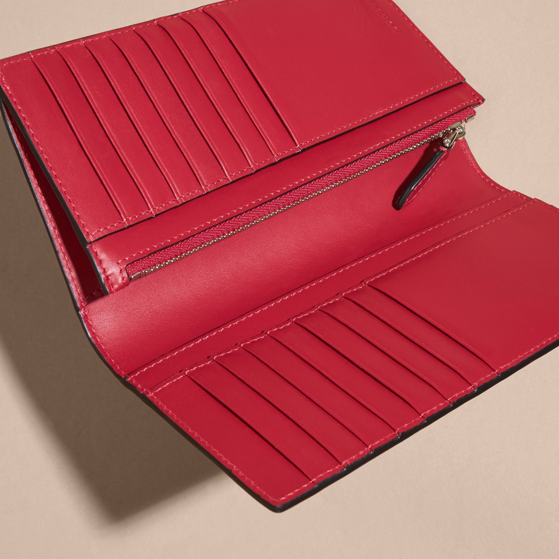 Parade red London Check and Leather Continental Wallet Parade Red - gallery image 5
