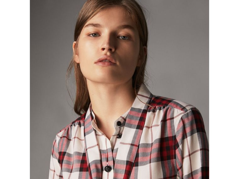 Pussy-bow Check Flannel Shirt in Crimson Red - Women | Burberry Singapore - cell image 1