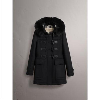 Burberry - Duffle-coat en laine avec bordure en fourrure amovible - 4