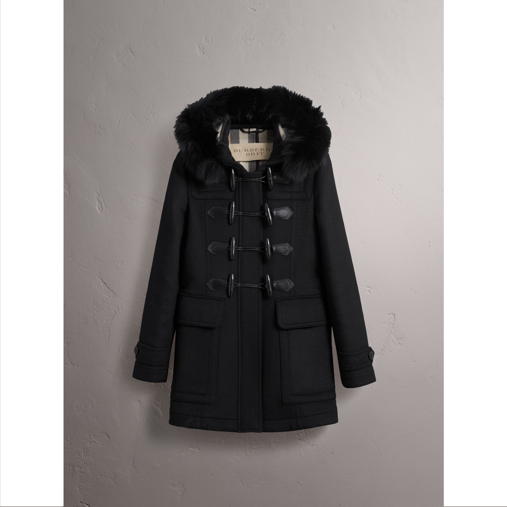 Detachable Fur Trim Wool Duffle Coat in Black - gallery image 4