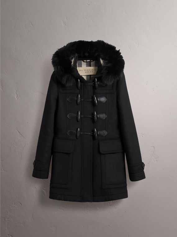 Detachable Fur Trim Wool Duffle Coat in Black - cell image 3